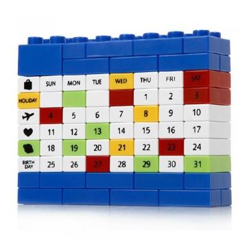 Вечный Календарь Puzzle из блоков конструктора (синий)