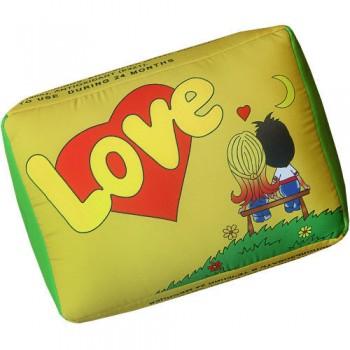 Подушка с принтом Love желтая как жвачка Love is ... со вкусом кокос-ананас