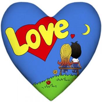 Красивая подушка с принтом в форме сердца - Love, синяя