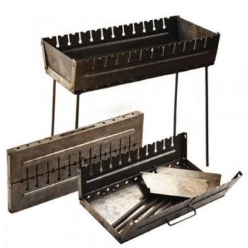 Складной мангал чемодан двухуровневый на 12 шампуров (толщина 2мм., размеры 27х67х5 см)