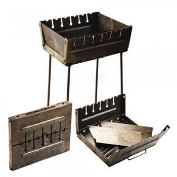 Складной мангал чемодан двухуровневый на 6 шампуров (толщина 2мм., размеры 27х37х5 см)