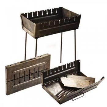 Складной мангал чемодан двухуровневый на 8 шампуров (толщина 2мм., размеры 27х50х5 см)