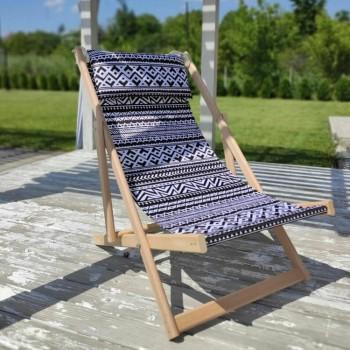 Складной шезлонг лежак из дерева для дачи и отдыха с принтом Узоры