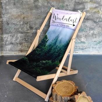 Складной шезлонг лежак из дерева для дачи и отдыха с принтом Страсть к путешествиям