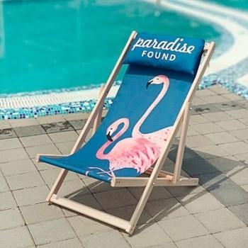 Складной шезлонг лежак из дерева для дачи и отдыха с принтом Розовые Фламинго