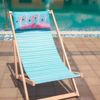 Складной шезлонг лежак из дерева для дачи и отдыха с принтом Фламинго