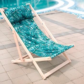 Складной шезлонг лежак из дерева для дачи и отдыха с принтом Листья