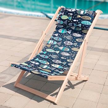 Складной шезлонг лежак из дерева для дачи и отдыха с принтом Рыбки
