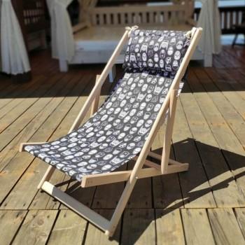 Складной шезлонг лежак из дерева для дачи и отдыха с принтом Супергерои