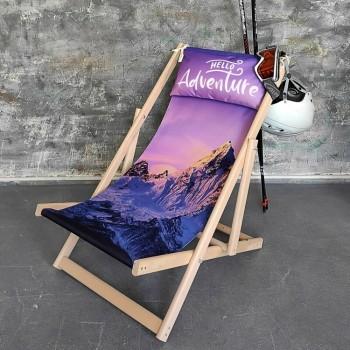 Складной шезлонг лежак из дерева для дачи и отдыха с принтом Приключения
