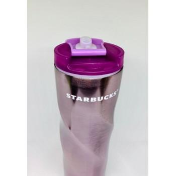 Термокружка глянцевая с блестками фигурная Starbucks 473мл (Фиолетовая)