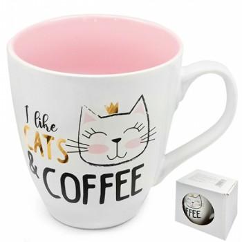 Чашка Я люблю котов и кофе 550 мл