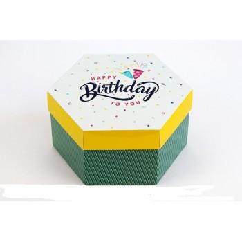 Подарочная коробка Шестигранная C днем рождения 20*17*10 см