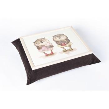 Поднос с подушкой смешные Совы