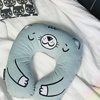 Дорожная подушка под шею для путешествий Котик