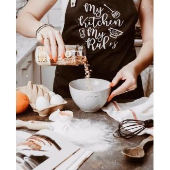 Мужской фартук черного цвета с принтом - My Kitchen My Rules