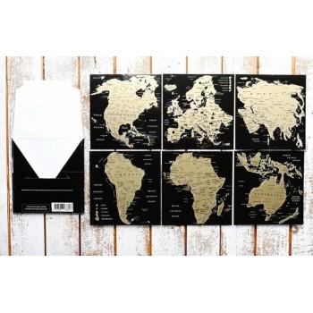 Набор - Скретч Открытка Карта Мира в конверте